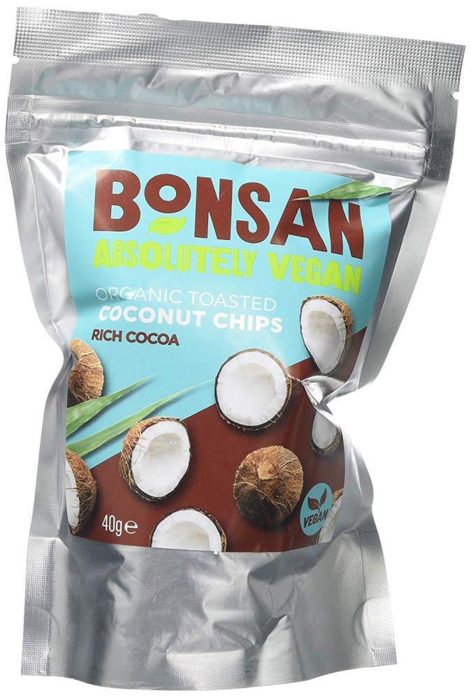 Bonsan Rich Cocoa Organic Vegan Coconut Chips 40g