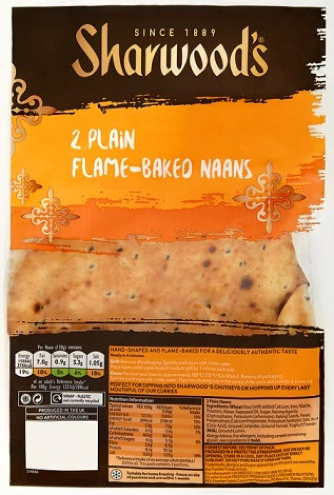 SUNDAY SPECIAL  Sharwoods 2 Plain Naans 260g