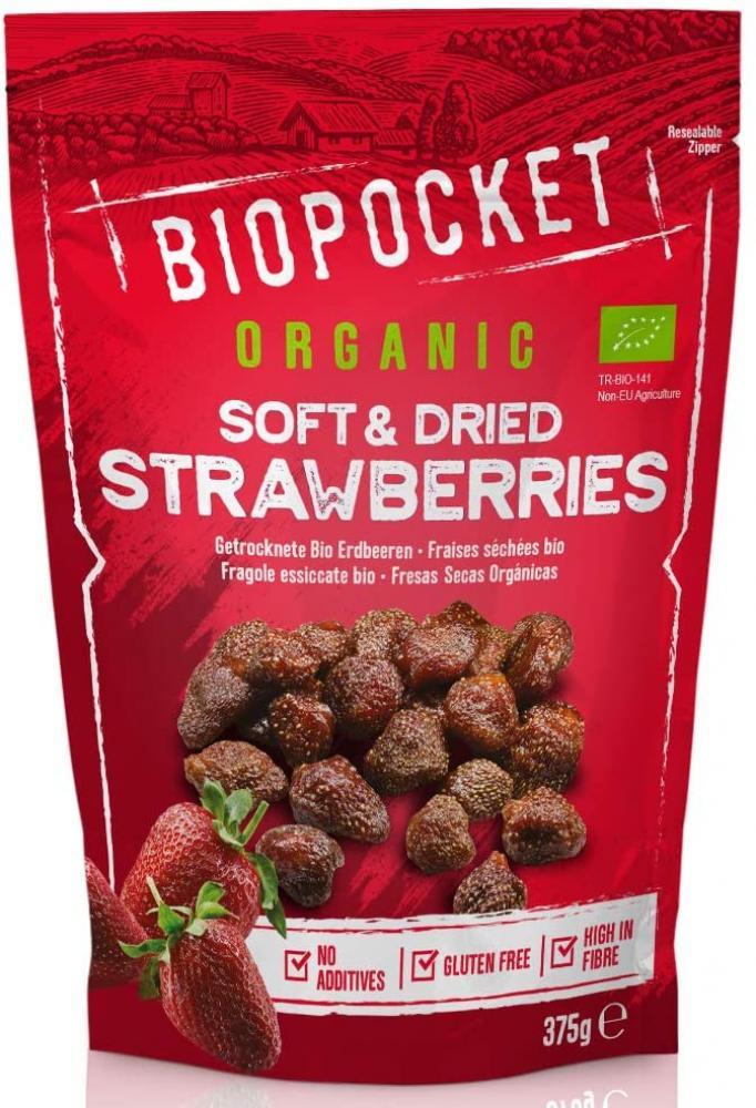 Biopocket Organic Soft and Dried Strawberries 375g