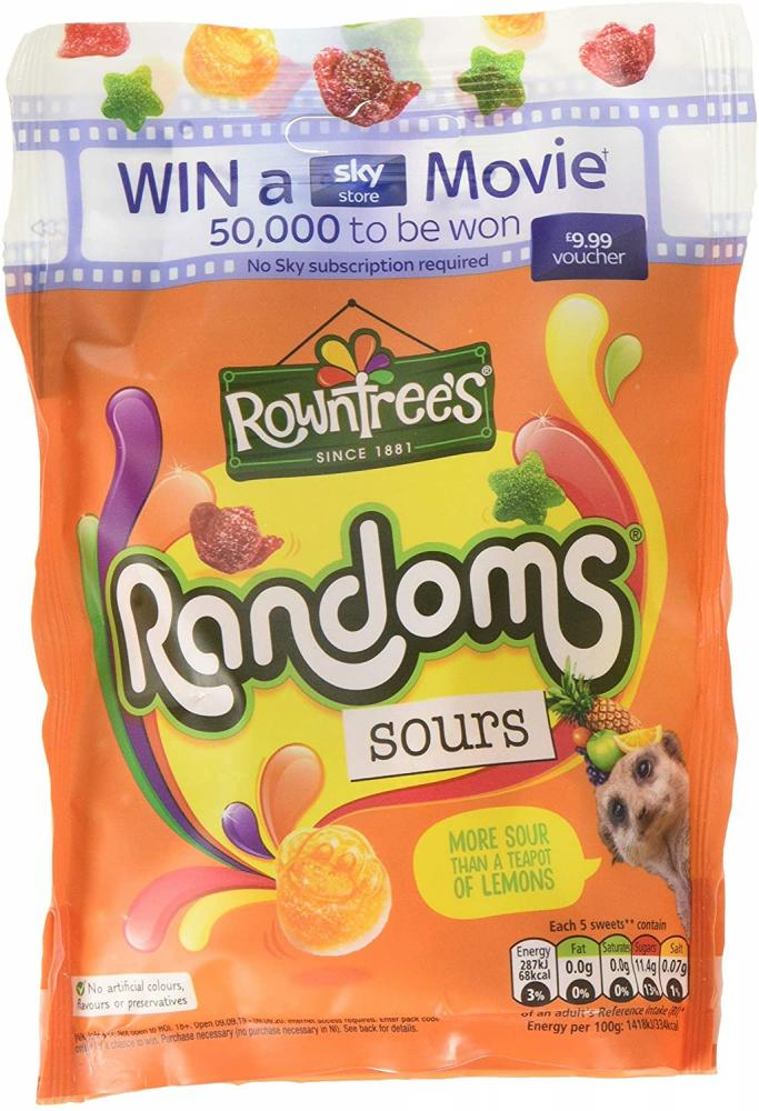 Rowntrees Randoms Sours Sweets Sharing Pouch 140 g