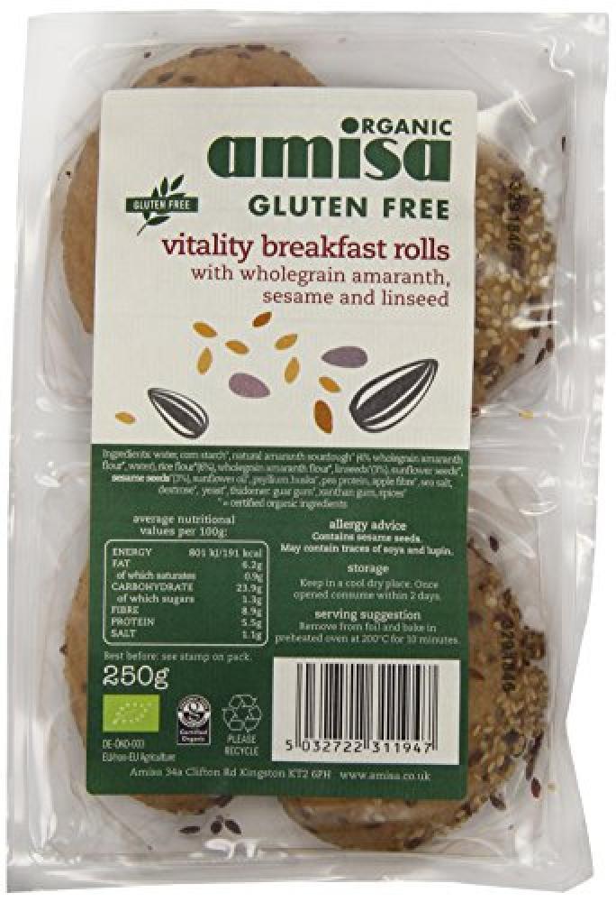 Amisa Organic Vitality Brown Breakfast Rolls 250g
