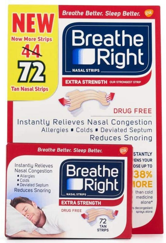 BreatheRight Extra Strenght Nasal Strips 72 Strips