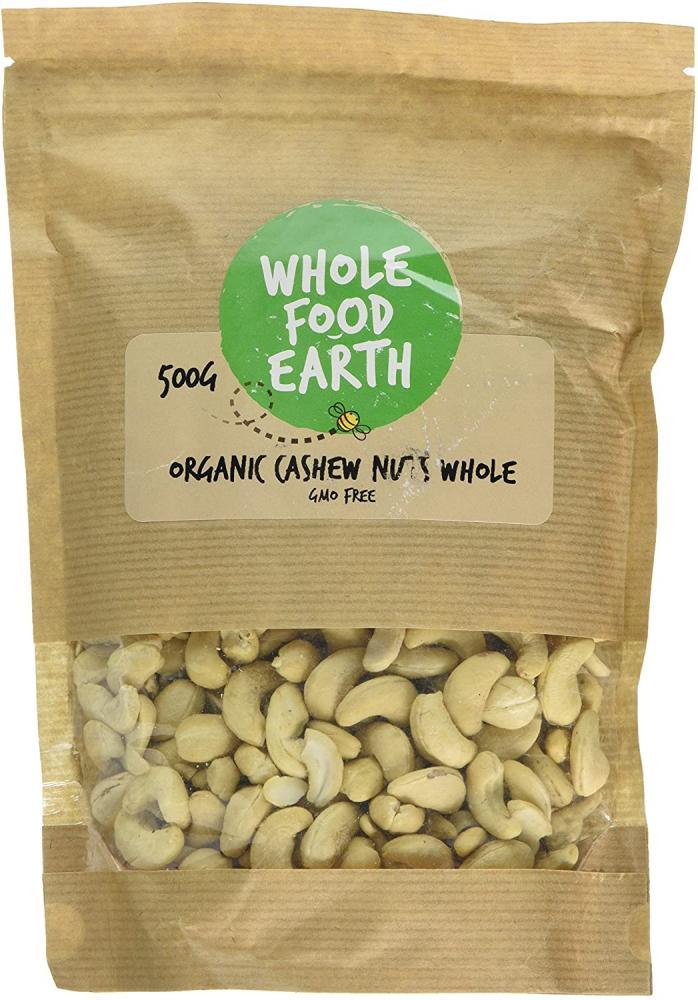 SALE  Whole Food Earth Organic Whole Cashew Nuts 500g
