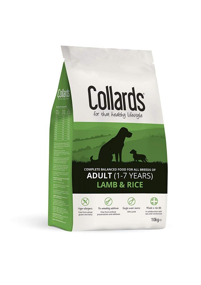 Collards Adult Complete Dry Dog Food Lamb and Rice 10kg
