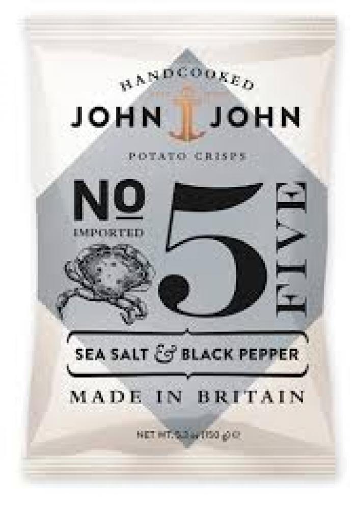 John And John Sea Salt and Black Pepper Hand Cooked Crisps 150g