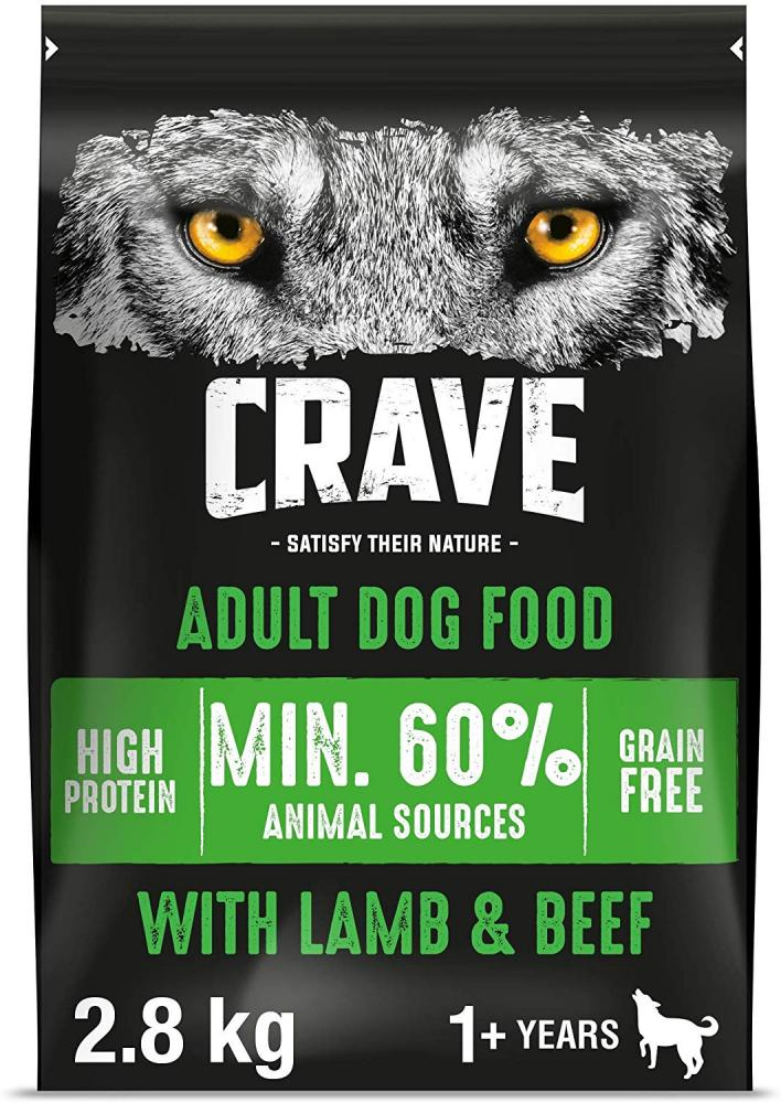 Crave Grain Free Dry Food for Adult Dogs with Lamb and Beef 2.8kg