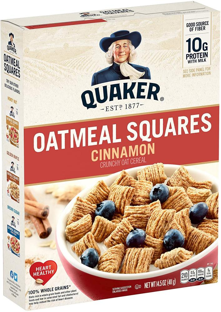 Quaker Oatmeal Squares with Just A Hint Of Cinnamon Crunchy Oat Cereal 411 g