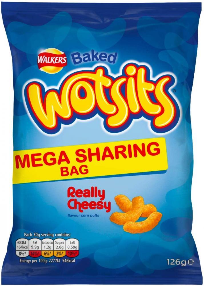 Walkers Wotsits Cheese Snacks Mega Sharing Bag 126 g