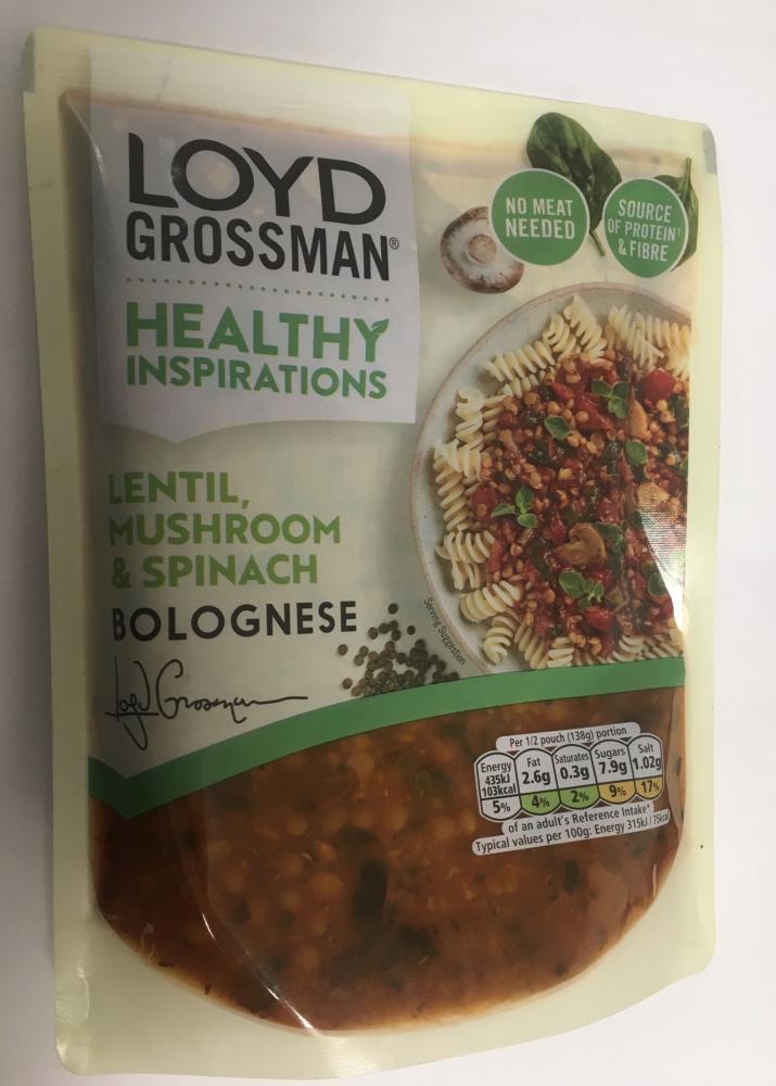 Loyd Grossman Healthy Inspirations Lentil Mushroom and Spinach Bolognese 275g