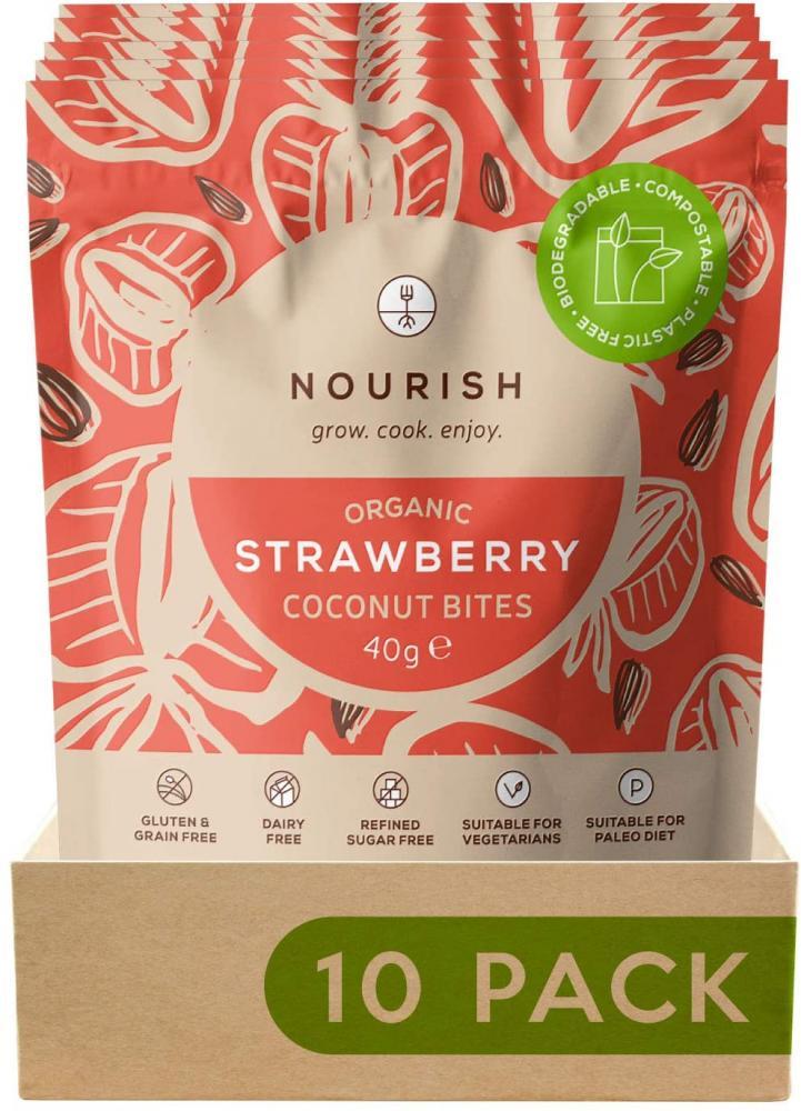 Nourish Organic Strawberry Coconut Bites 40g