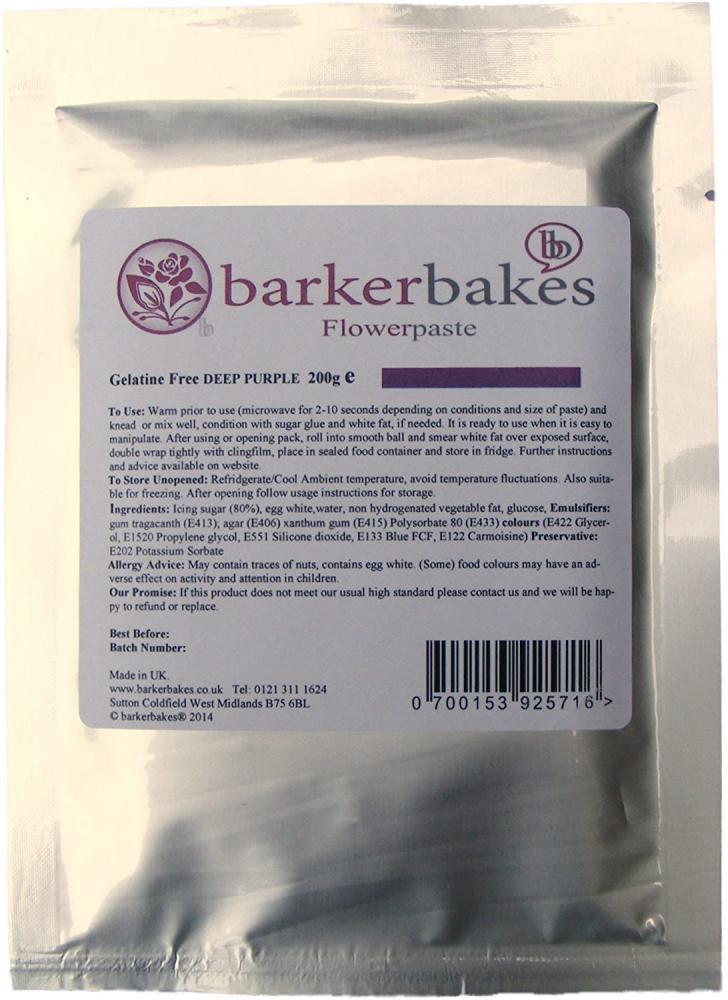 Barker Bakes Gelatine Free Deep Purple Flowerpaste for Cake Decorating 200 g