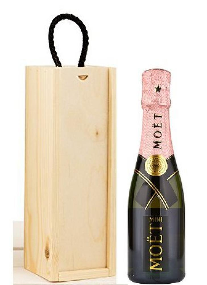 Moet and Chandon Rose Miniature Champagne in a Wooden Box 200ml