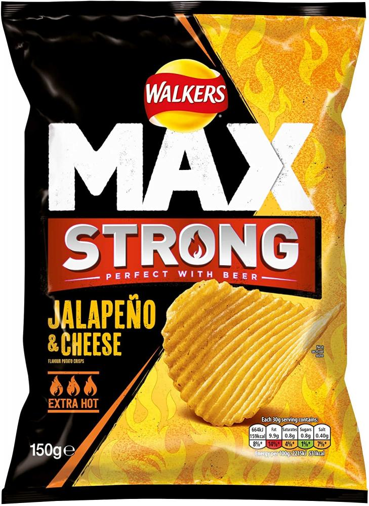 Walkers Max Strong Jalapeno And Cheese Crisps 150 g