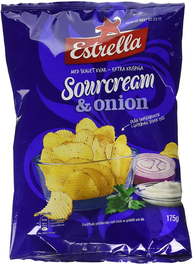 Estrella Sour Cream and Onion Crisps 175 g