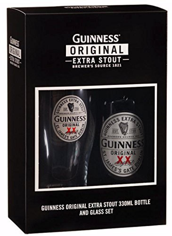 SUMMER SALE  Guinness Original Pint Glass and 330 Militlitre Bottle Gift Box Set Damaged Box