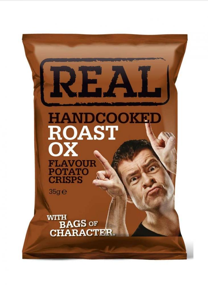 Real Handcooked Roast Ox Flavour Potato Crisps 35g