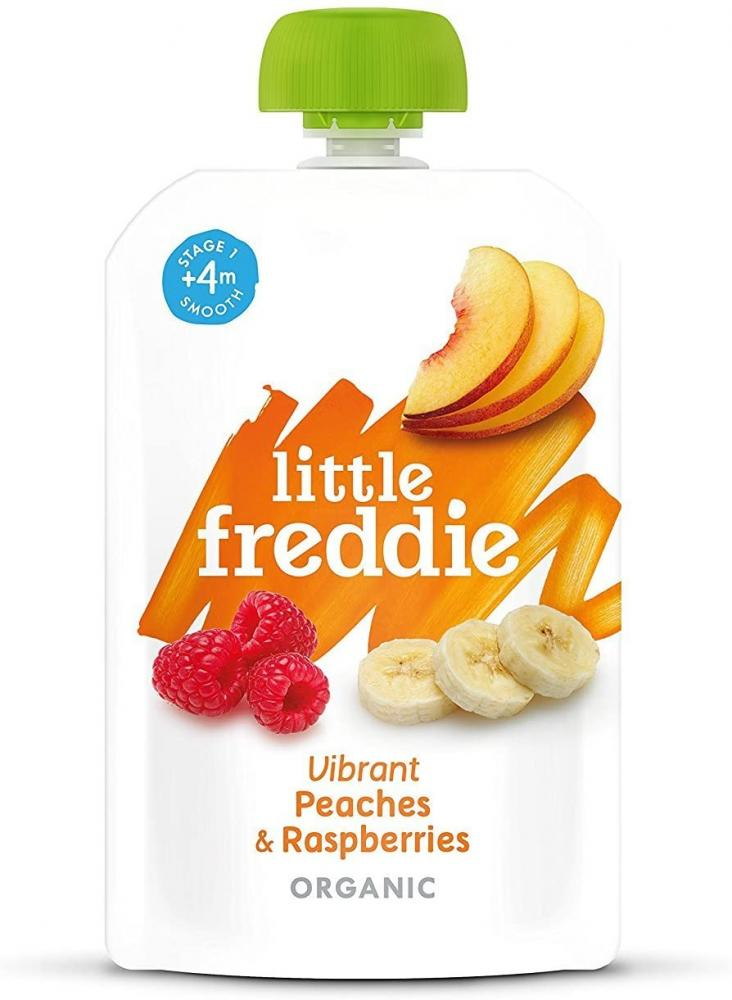 Little Freddie Organic Baby Food Stage 1 Peaches and Raspberries 100g