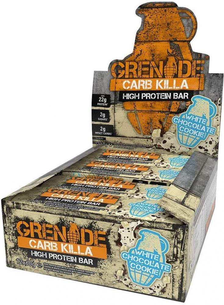 CASE PRICE  Grenade Carb Killa High Protein and Low Carb Bar White Chocolate Cookie 12 x 60g