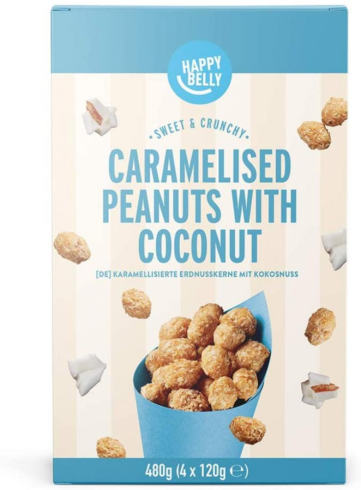 CASE PRICE  Happy Belly Caramelised Peanuts with Coconut 4 x 120g