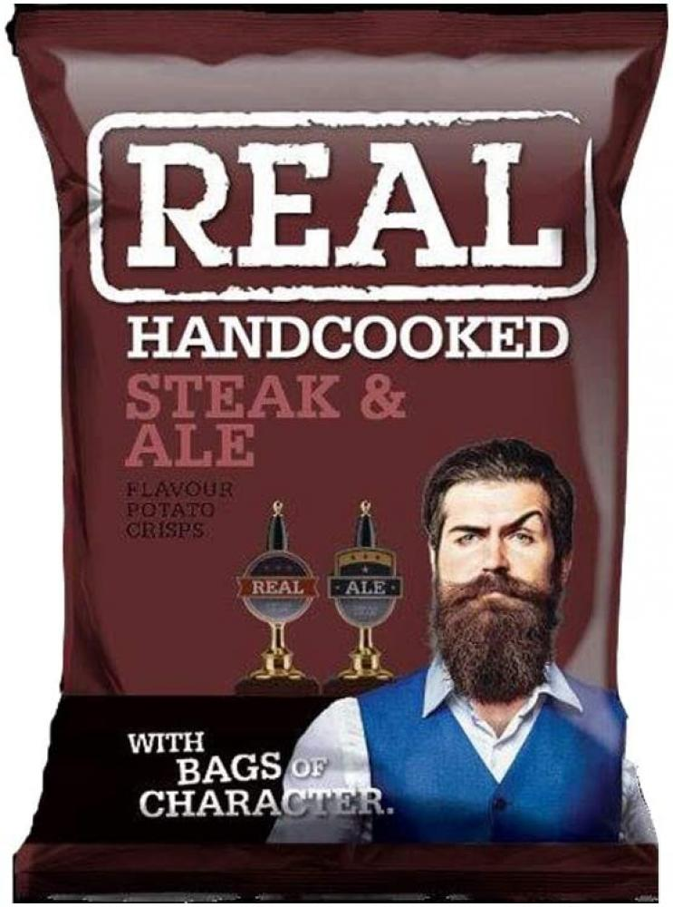 Real Handcooked Crisps Steak and Ale 35g