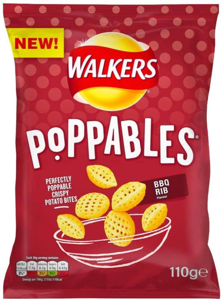 SALE  Walkers Crisps Poppables BBQ Rib Snacks 110 g