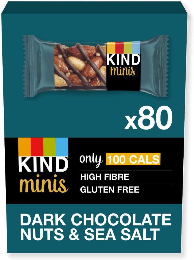 CASE PRICE  Kind Minis Bars Dark Chocolate Nuts and Sea Salt 80x20g
