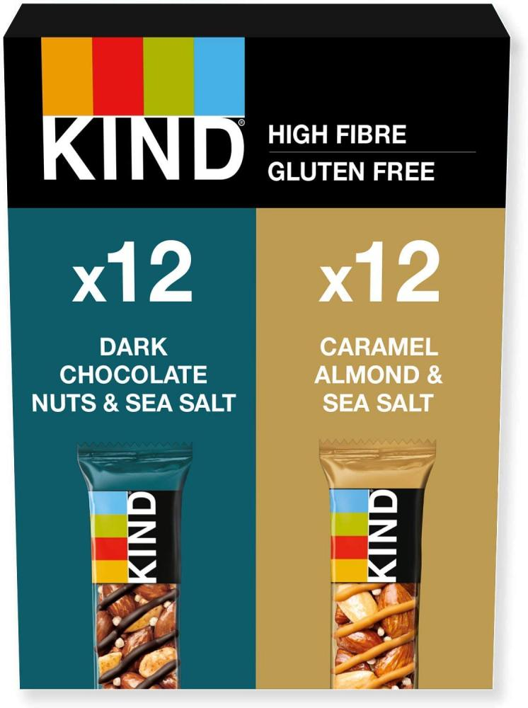 Kind Variety Pack Dark Chocolate Nuts and Sea Salt and Caramel Almond and Sea Salt 24x40g