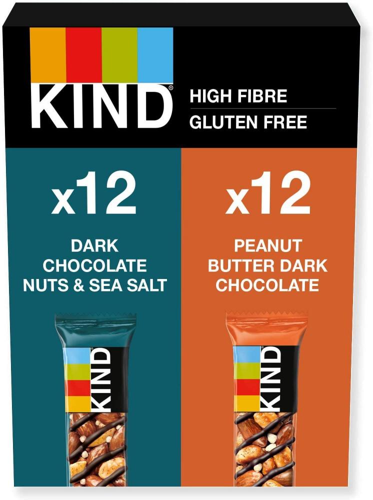 Kind Variety Pack Dark Chocolate Nuts And Sea Salt And Peanut Butter And Dark Chocolate 24 x 40 g