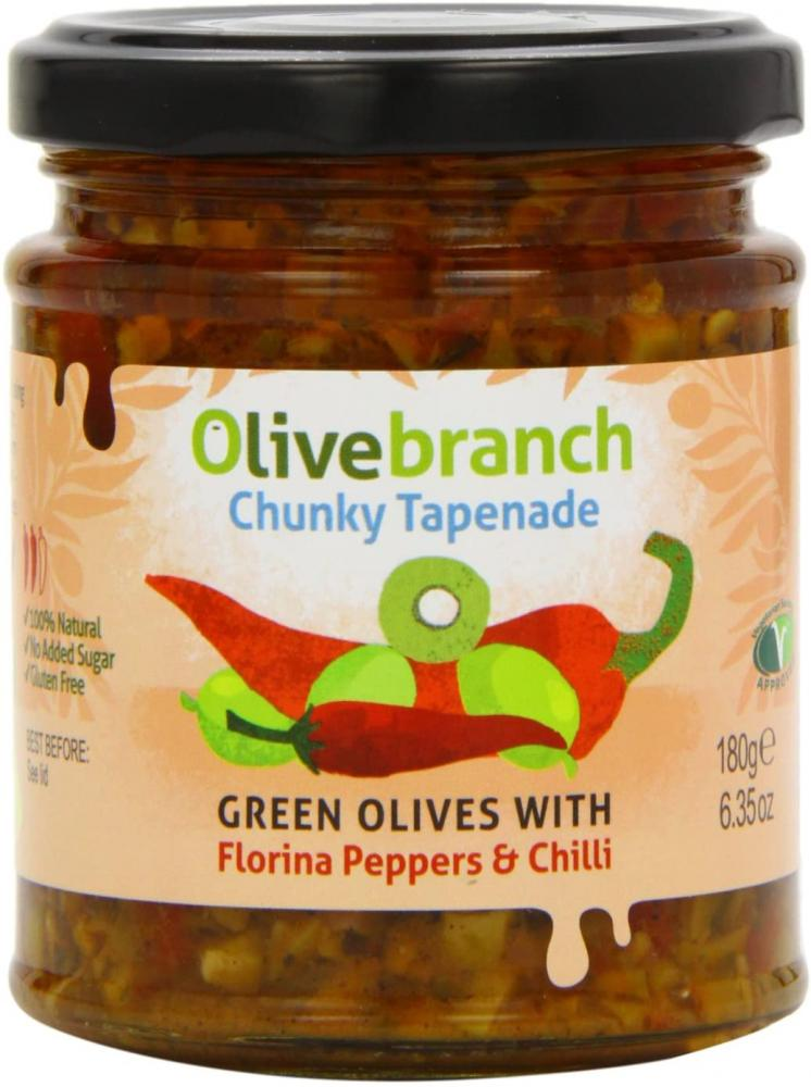 Olive Branch Green Olives With Florina Peppers and Chilli 180g
