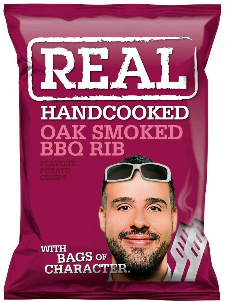 Real Handcooked Oak Smoked BBQ Rib Flavour Crisps 35g