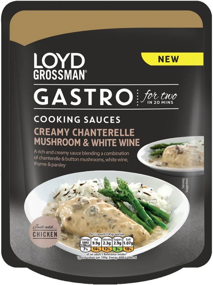 Loyd Grossman Gastro Cooking Sauces Creamy Chanterelle Mushroom and White Wine 290g