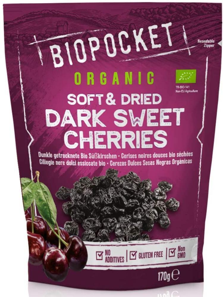 Biopocket Organic Soft and Dried Dark Sweet Cherries 2 x 170 g