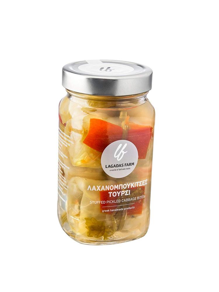Lagadas Farm Greek Stuffed Pickled Cabbage Bites in Glass Jar 500ml