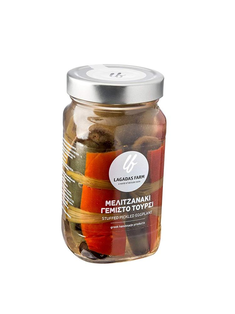 Lagadas Farm Greek Stuffed Pickled Eggplant in Glass Jar 500g