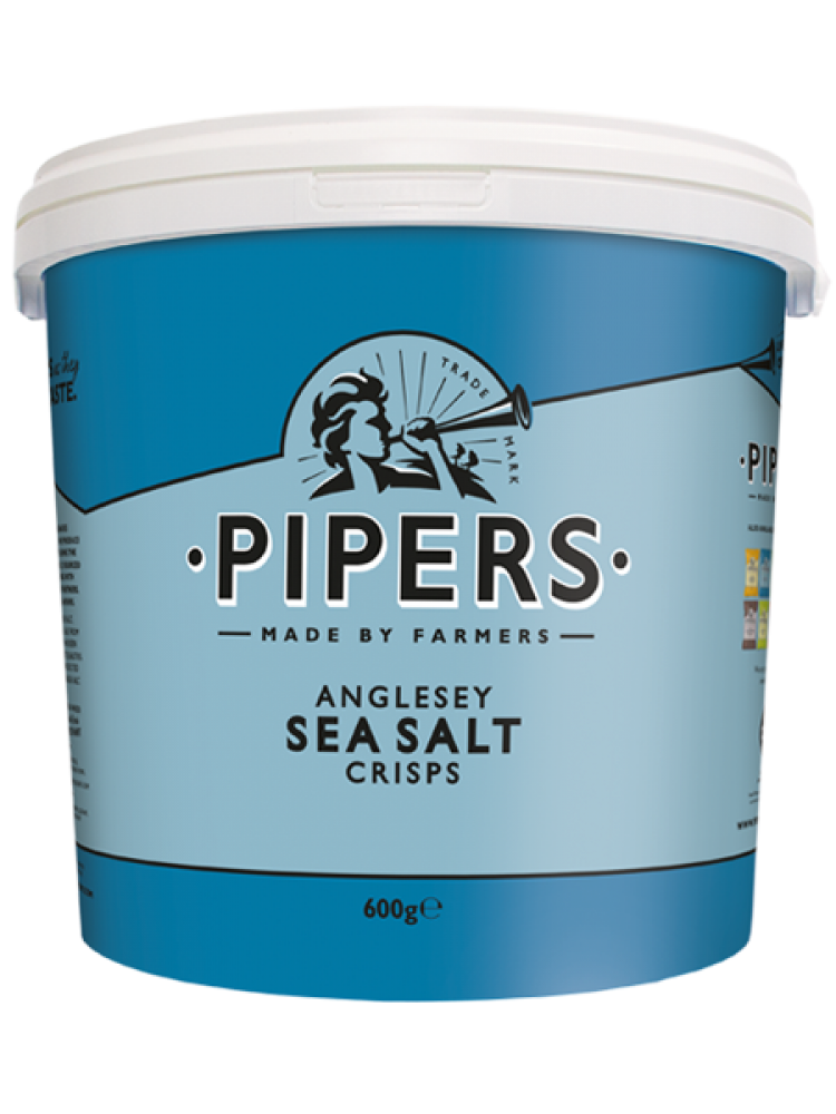 Pipers Crisps Anglesey Sea Salt Tub 600g