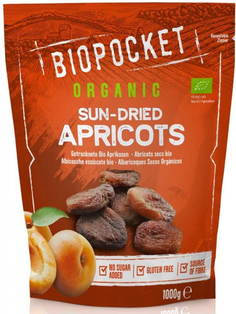 Biopocket Organic Dried Apricots 1000g