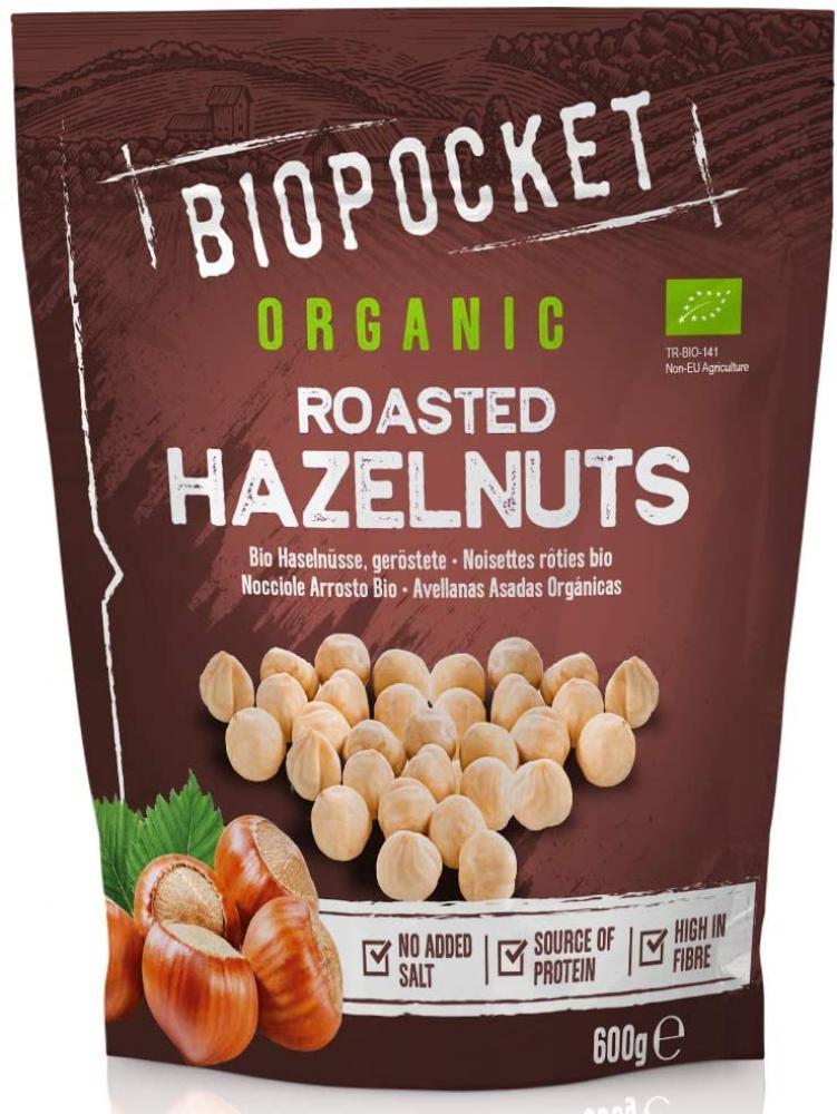 Biopocket Organic Roasted Hazelnuts 600 g