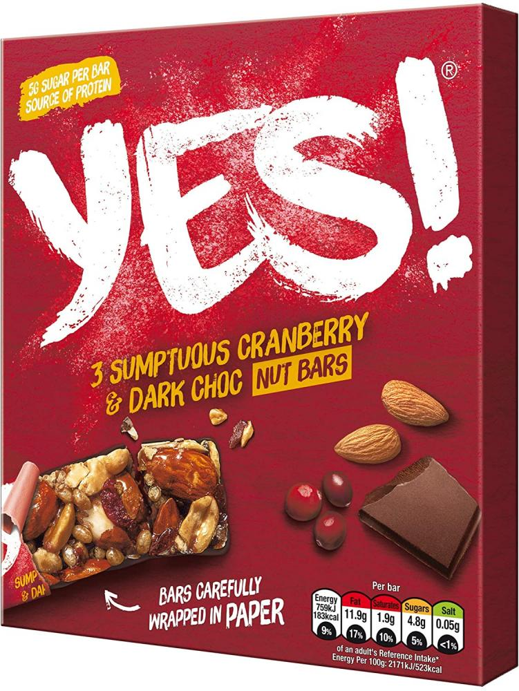 Yes Cranberry Dark Choc and Nut Snack Bar Multipack 105 g