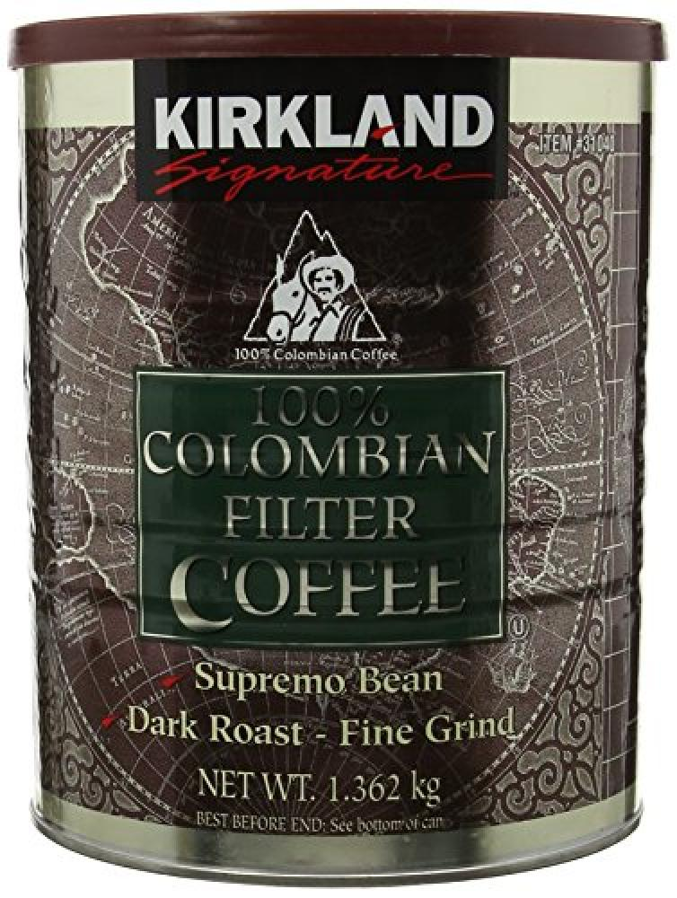 Kirkland Signature 100 Colombian Filter Coffee Supremo Bean Dark Roast Fine Grind 1.36 kg Damaged Box