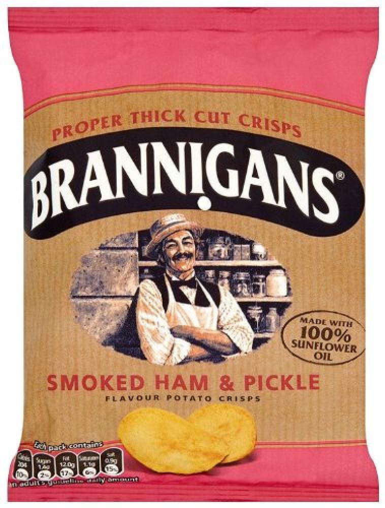 Brannigans Smoked Ham and Pickle Flavour Potato Crisps 40g