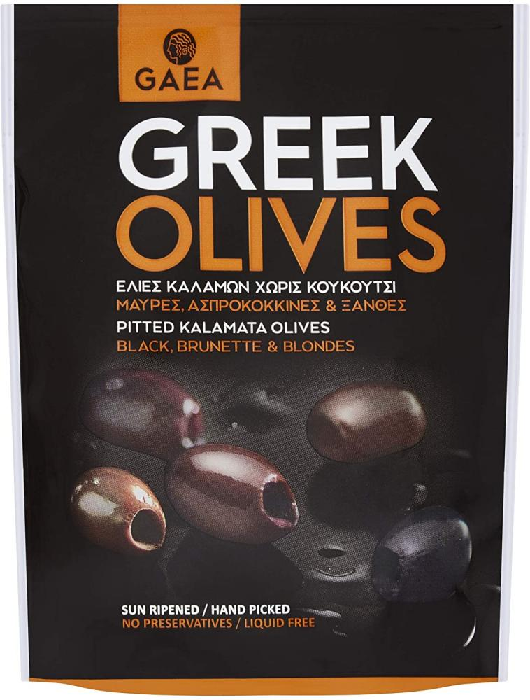 Gaea Greek Pitted Black Kalamata Olive Snacking Pouch 150 g