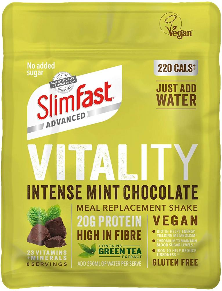 SlimFast Advanced Vegan Vitality High Protein Meal Replacement Powder Shake Mint Chocolate 432g