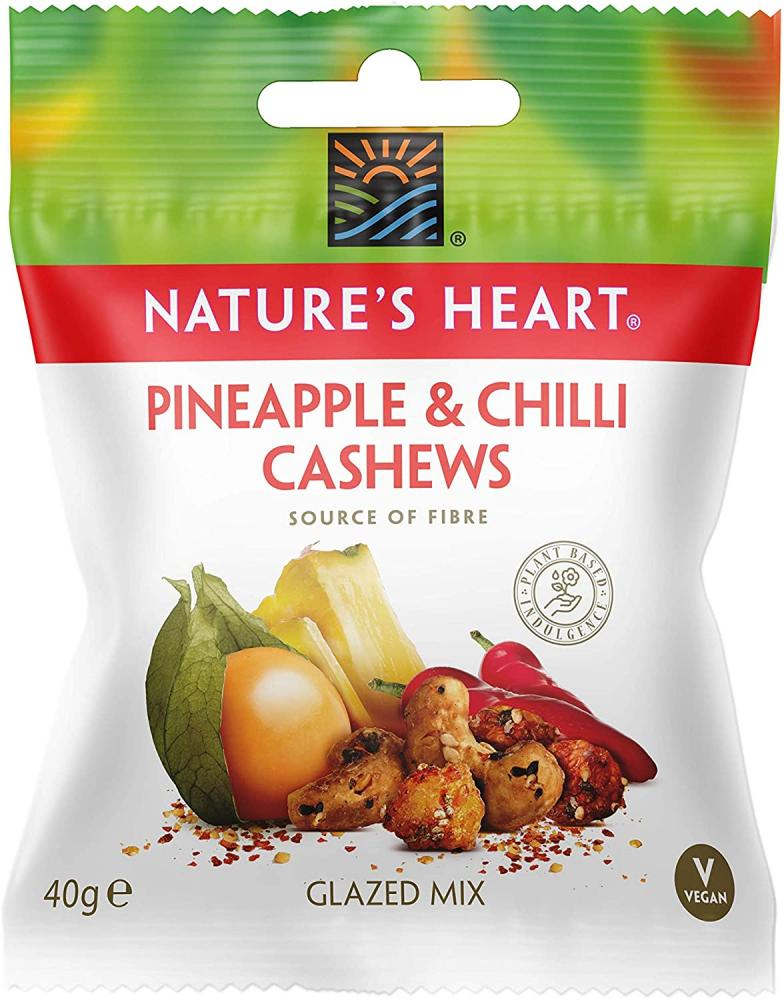 Natures Heart Pineapple And Chilli Cashews 40g