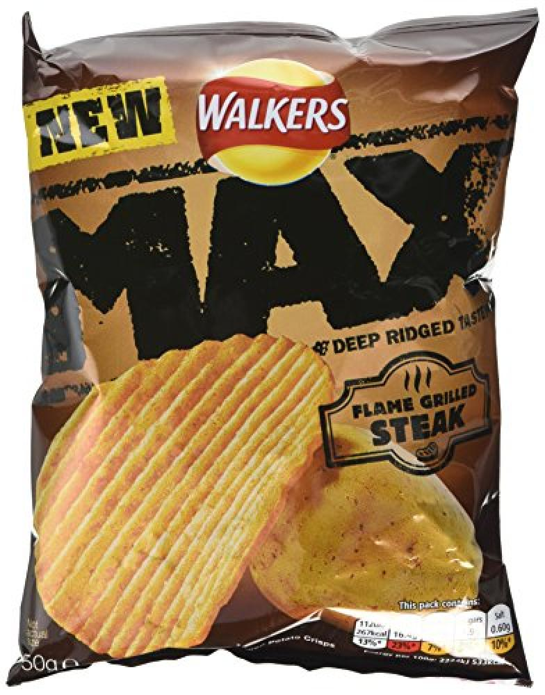 Walkers Max Ridged Flame Grilled Steak Flavoured Crisps 50 g