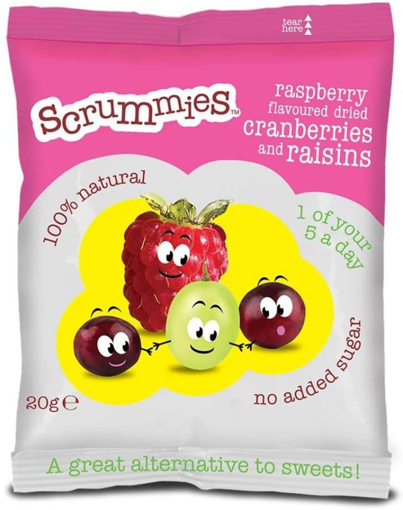 Scrummies Raspberry Flavour Cranberries and Raisins 20 g