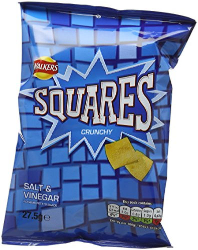 CLEARANCE  Walkers Squares Salt and Vinegar Potato Snacks 27.5 g