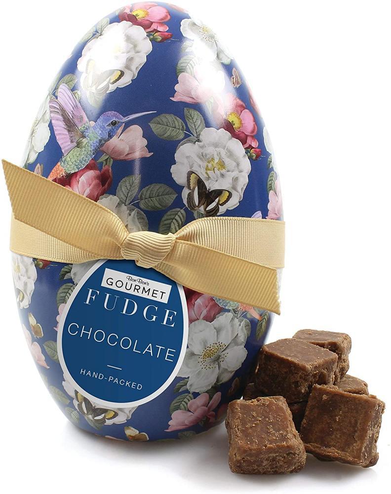 Bon Bons Chocolate Fudge in Blue Floral Egg Tin 160g