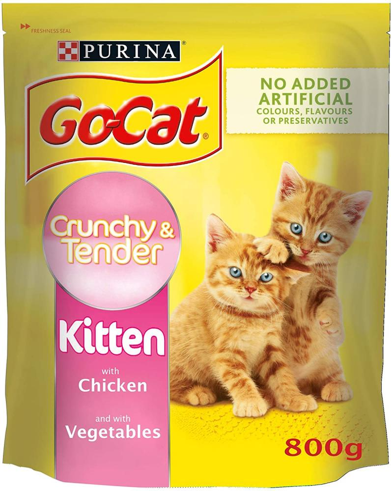 Go-Cat Crunchy and Tender Kitten Dry Cat Food with Chicken and Vegetables 800 g