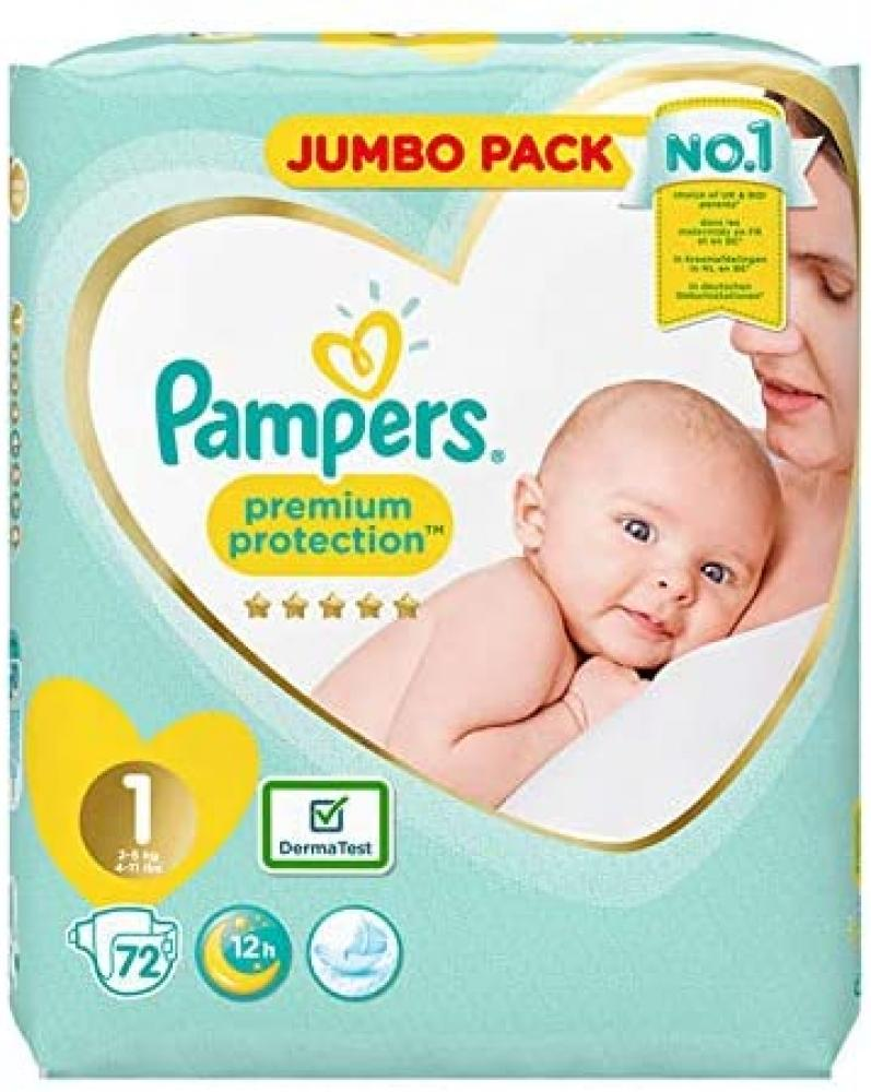 Pampers Size 1 New Baby Jumbo Pack Nappies Pack of 72 Nappies