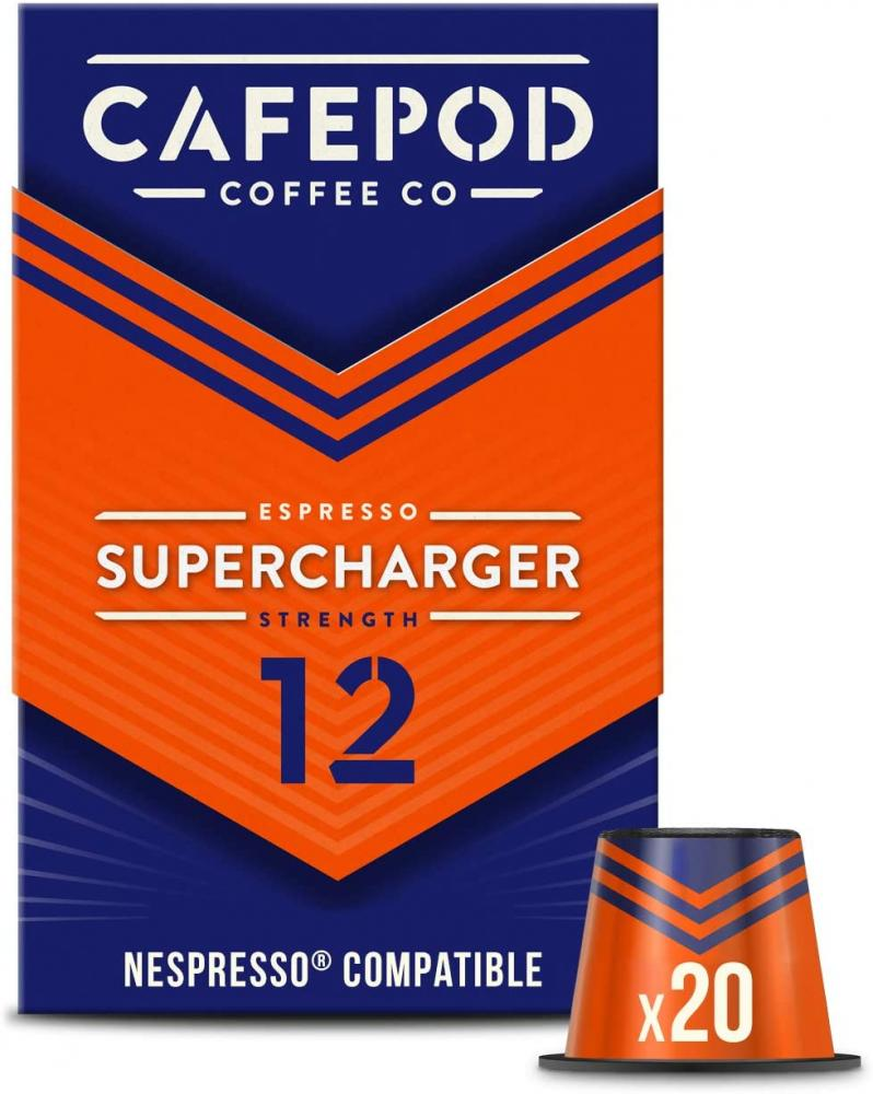 Cafepod Nespresso Compatible Coffee Pods Supercharger Strength 12 20 capsules